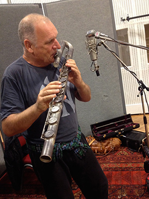 Dave Heath on bass flute during <i>U.N.C.L.E.</i> session. (photo courtesy of Daniel Pemberton)