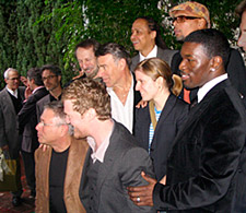Song nominees (from left) Alan Menken, Glen Hansard, Academy music-branch Governor Charles Bernstein, Stephen Schwartz, Jamal Joseph, Marketa Irglova, Tevin Thomas and Charles Mack