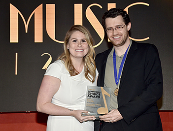 Austin Wintory (right) with ASCAP Associate Director, Film & TV, Rachel Perkins (photo by Getty Images for ASCAP)