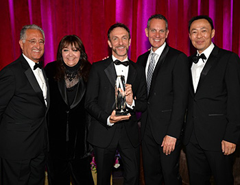 (L-R) BMI President Del Bryant; BMI Vice President, Film/TV Relations Doreen Ringer-Ross; Richard Kirk Award recipient Mychael Danna; BMI CEO Michael O'Neill; and BMI Assistant Vice President, Film/TV Relations Ray Yee