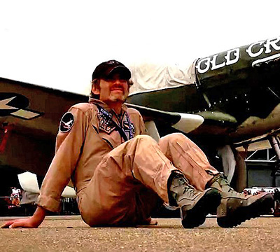 Horner preparing to fly in a vintage plane featured in the documentary <i>The Horsemen Cometh</i> (2010)