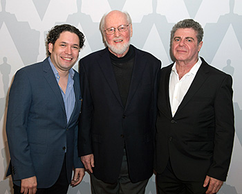 (Left to right) Gustavo Dudamel, John Williams and Gustavo Santaolalla