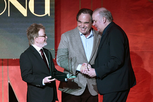 Paul Williams, Oliver Stone and Craig Armstrong (photo by Getty Images for ASCAP)
