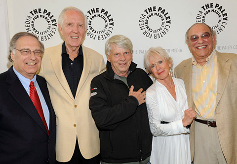 (Left to right) <i>That's Life</i> producer Lee Miller, writer Bob Ellison, stars Robert Morse and E.J. Peaker, and producer-director Stan Harris. (Photo courtesy of the Paley Center for Media.)