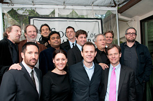 (Back row, left to right) Event Chairman Charles Bernstein, Hans Zimmer, Alexandre Desplat, A.R. Rahman, Atticus Ross, <i>Tangled</i> songwriters Glenn Slater and Alan Menken, SCL President Dan Foliart and John Powell. (Front row, left to right) Trent Reznor, and <i>Country Strong</i> songwriters Hillary Lindsey, Troy Verges and Tom Douglas.
