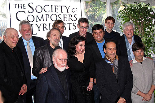 Left to right, (back row) Academy Governor Charles Fox, SCL President Ashley Irwin, William Butler, Steven Price, Owen Pallett; (center row) composer Charles Bernstein, Kristen Anderson-Lopez, Robert Lopez, Academy Governor Arthur Hamilton; (front row) John Williams, Alexandre Desplat, Thomas Newman