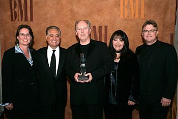(From left) BMI Sr. VP/Performing Rights Alison Smith, BMI President/CEO Del Bryant, composer George S. Clinton, BMI VP of Film/TV Relations Doreen Ringer-Ross, BMI Sr. VP of Writer/Publisher Relations Phil Graham. (Photo by Randall Michaelson)
