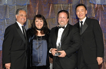 (From left) Bryant, Ringer-Ross, conductor/composer Lucas Richman, BMI Sr. Director of Film/TV relations Ray Yee.<br />(Photo by Randall Michaelson)