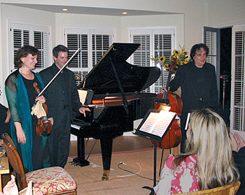 Belinda Broughton, violin; Robert Thies, piano; and Andrew Shulman, cello