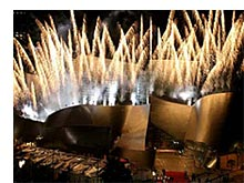 Fireworks light up the sky from Frank Gehry's Walt Disney Concert Hall