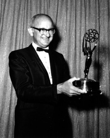 Hagen accepting an Emmy Award for I Spy in 1968.