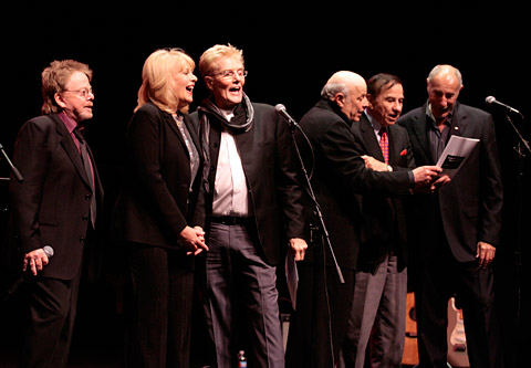 (Left to right) Paul Williams, Ilene Graff, Bob Crewe, Charles Fox, Richard Sherman and Jeff Barry sing Crewe's hit