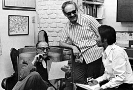 Lyn Murray, Fred Steiner and author Allan Ulrich, 1975