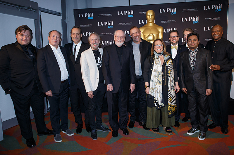 (From left) Benjamin Wallfisch, Hans Zimmer, Alexandre Desplat, Charles Bernstein, John Williams, Michael Abels, Laura Karpman, Michael Giacchino, Carter Burwell, A.R. Rahman, and Thomas Wilkins.